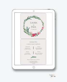 faire-part mariage numérique-faire part mariage digital-faire part numérique-pdf numérique-faire part mariage electronique -faire-part à envoyer par mms-par mail-réseaux sociaux-whatsapp-facebook-messenger-couronne d'eucalyptus-fleurs-champêtre-Laurier
