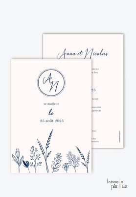 Faire-part mariage-champêtre-bohème-végétal-tiges végétales- monogramme-première lettre du prénom