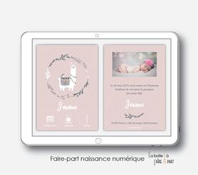 faire-part naissance fille numérique-faire-part naissance fille électronique-fichier pdf -lama couronne -à imprimer soi même-à envoyer par mail -à envoyer par mms-sms-réseaux sociaux-pictogramme