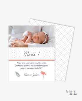 carte de remerciement naissance fille-feuille de palmier-flamant rose-hibiscus-fleurs-photo-pas cher-