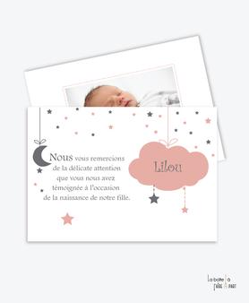 carte remerciement naissance fille nuage, étoile, et lune rose avec photo