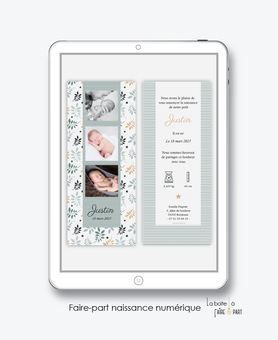 faire-part naissance numérique-faire part électronique-faire part numérique-imprimable-pdf numérique-faire part connecté-feuilles et étoiles-faire part à imprimer soi-même-faire-part à envoyer par sms-mms-par mail-réseaux sociaux-whatsapp-facebook-pictogr