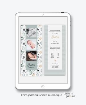 faire-part naissance garçon numérique-faire part digital-faire part numérique-imprimable-pdf numérique-faire part connecté-feuilles et étoiles-faire part à imprimer-faire-part à envoyer par sms-mms-par mail-réseaux sociaux-whatsapp-facebook-pictogr
