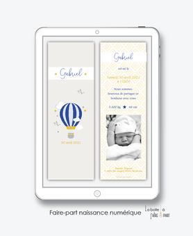 faire-part naissance garçon numérique-faire part naissance digital-faire part numérique-imprimable-pdf numérique-faire part connecté-montgolfière bleue-faire part à imprimer -faire-part à envoyer par sms-mms-par mail-réseaux sociaux-whatsapp-facebook