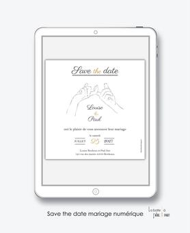 Save the date mariage numérique-Save the date mariage digital-Save the date numérique-pdf numérique-Save the date mariage electronique -Save the date à envoyer par mms-par mail-réseaux sociaux-whatsapp-facebook-messenger-main entrelacée-dessin-elegant