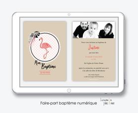 faire part baptême fille numérique-faire part baptême digital-pdf imprimable-pdf numérique-faire part connecté-flamant rose-kraft-pois-à imprimer soi-même-faire part baptême à envoyer par mail