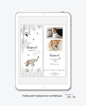 faire-part naissance numérique-faire part électronique-faire part numérique-pdf numérique-faire part connecté-faire-part à envoyer par sms-mms-par mail-réseaux sociaux-whatsapp-facebook-jungle-savane-animaux-elephant-toucan-papillons-