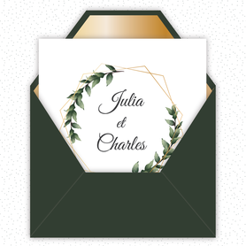 Faire-part mariage gif animé-faire-part mariage virtuel- faire part mariage digital-faire-part mariage numérique animé-électronique-à envoyer via les réseaux sociaux-whatsapp-facebook-messenger-mms-couronne de feuille de laurier-doré-format carré