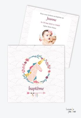 faire part baptême fille licorne origami couronne-or-motif-carré-fleche-plume-fleurs-couronne fleurie