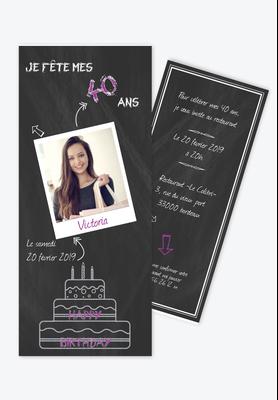 invitation anniversaire femme ardoise-polaroid-gateau