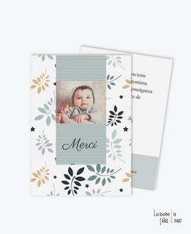 carte de remerciement naissance garçon feuilles et étoiles-couleur automne-rayure