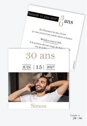 invitation anniversaire homme avec photo-carte d'invitation anniversaire homme 20ans-30ans-40ans-50ans-60ans-70ans - format carré-photo-noir et blanc