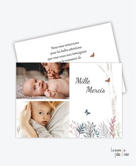 carte de remerciement naissance garçon-faon-biche-foret-le bois-papillon-végétation-photos