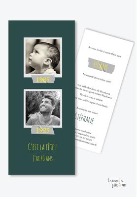 invitation anniversaire homme -carte d'invitation anniversaire homme 20ans-30ans-40ans-50ans-60ans-70ans-marque page-photos polaroid à la naissance et maintenant-avant aprés