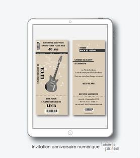 invitation anniversaire homme numérique-electronique-billet de concert guitare-kraft-pdf-pas cher- 20ans-30ans-40ans-50ans-60ans-à imprimer soi-même