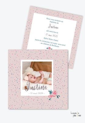 faire part baptême fille-motif et fleurs-polaroid-pivoine-tendance-moderne-pas cher-format carré-motif etoile-rose et bleu canard