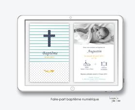 faire part baptême garçon numérique-faire part baptême électronique -pdf imprimable-pdf numérique-faire part connecté-croix et rayures-à imprimer soi-même-faire part baptême à envoyer par mail