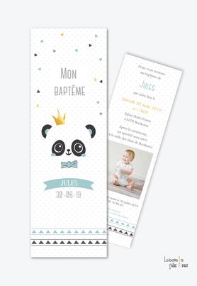 faire part bapteme garçon panda couronne-noeud papillon-marque page-coloris pastel-bleu et noir