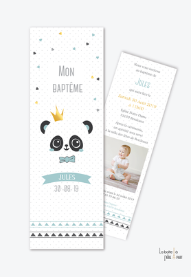 faire part bapteme garçon panda couronne-noeud papillon-marque page-coloris pastel-bleu et noir- animal-animaux