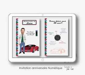 carte invitation anniversaire homme numérique-électronique- 20ans-30ans-40ans-50ans-60ans-à imprimer soi-même--faire-part à envoyer par sms-mms-par mail-réseaux sociaux-whatsapp-facebook-voiture de courses-vitesse-