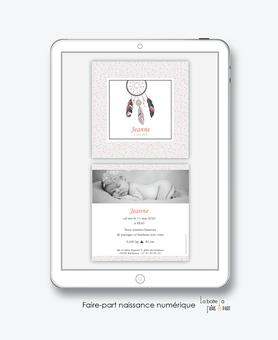 faire-part naissance fille numérique-faire-part naissance fille électronique-fichier pdf - attrape reves  à pois-plume-à imprimer soi même-à envoyer par mail -à envoyer par mms-sms-réseaux sociaux