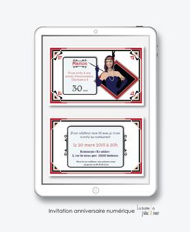 invitation anniversaire femme numérique-électronique- 20ans-30ans-40ans-50ans-60ans--faire-part à envoyer par sms-mms-par mail-réseaux sociaux-whatsapp-facebooke-charleston -année20-retro-