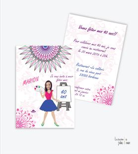 invitation anniversaire femme mandala