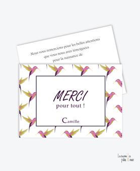 carte remerciement naissance fille colibris rose et vert