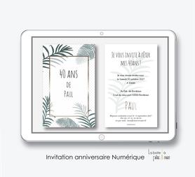Invitation anniversaire homme numérique-Invitation électronique-Invitation numérique-imprimable-pdf numérique-Invitation connecté-Invitation anniversaire à envoyer par mms-par mail-réseaux sociaux-whatsapp-facebook-jungle-tropical-exotique-palmier-pois