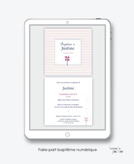 faire part bapteme fille numérique-Faire-part baptême digital-électronique-fichier Pdf-moulin à vent -à imprimer soi même