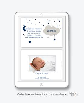 Carte de remerciements naissance garçon numérique-carte de remerciements garçon électronique-fichier Pdf-nuage lune-etoiles-à imprimer soi même-A envoyer via les réseaux sociaux whatsapp-messenger-facebook-mms et mail