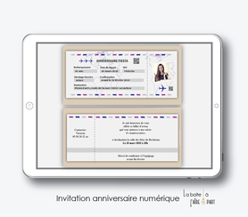 invitation anniversaire femme numérique /électronique -fichier PDF-billet d'avion party