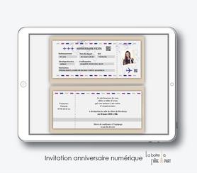 invitation anniversaire femme numérique-électronique-digital-à envoyer par mail et reseaux sociaux-whatsapp-facebook-mms-20ans-30ans-40ans-50ans-60ans-à imprimer soi-même-billet d'avion party-