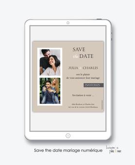 Save the date mariage numérique-Save the date mariage digital-Save the date numérique-pdf numérique-Save the date mariage electronique -Save the date à envoyer par mms-par mail-réseaux sociaux-whatsapp-facebook-messenger-Photo polaroid-kraft-photos