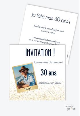 invitation anniversaire homme avec photo-noir et blanc-carte d'invitation anniversaire homme 20ans-30ans-40ans-50ans-60ans-70ans - format carré-Photo polaroid-paillettes-doré