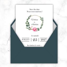 Save the date mariage gif animé- Save the date mariage virtuel-Save the date mariage digital-Save the date mariage numérique animé-électronique-à envoyer via les réseaux sociaux-whatsapp-facebook-messenger-mms-Couronne d'eucalyptus et pivoine