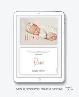 carte de remerciement naissance fille numérique-remerciements naissance électronique-carte de remerciements digital-pdf numérique-remerciement connecté-avec photos-carte de remerciement  à imprimer soi-même-à envoyer par mail et réseaux sociaux