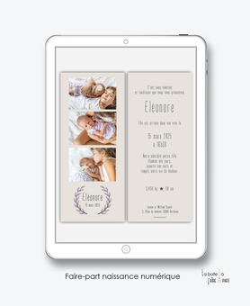 faire-part naissance fille numérique-faire part électronique-faire part numérique-imprimable-pdf numérique-faire part digital -couronne en epi de blé-chic-marque page-photo-faire-part à envoyer par sms-mms-par mail-réseaux sociaux-whatsapp-facebook