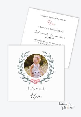 faire part baptême fille-Couronne avec bouquet de roses-couronne d'épi de blé-photo-baptême religieux-eglise-format carré-