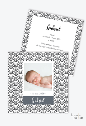 faire part naissance garçon motif graphique -noir et blanc-polaroid-motif vintage-motif art graphique-avec photo