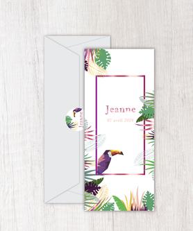 faire-part naissance fille numérique-faire part naissance digital-faire-part digital -tropical toucan-jungle-palmier-à imprimer-à envoyer par mail -à envoyer par mms-sms-réseaux sociaux