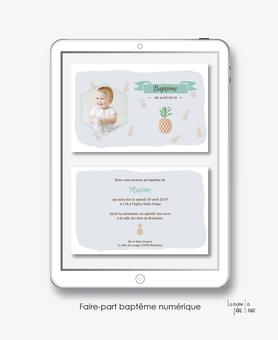 faire part bapteme garçon numérique-électronique-fichier Pdf-ananas- à imprimer soi même