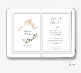 faire-part mariage numérique-faire part mariage digital-faire part numérique-pdf numérique-faire part mariage electronique -faire-part à envoyer par mms-par mail-réseaux sociaux-whatsapp-facebook-messenger-pampa-feuillage-losange-végétal-bohème- champêtre