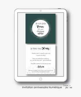 Invitation anniversaire homme numérique-Invitation électronique-Invitation digitale-pdf numérique-Invitation connecté-Invitation anniversaire à envoyer par mms-par mail-réseaux sociaux-whatsapp-facebook-couronne argent-moustache-ecriture-format carré