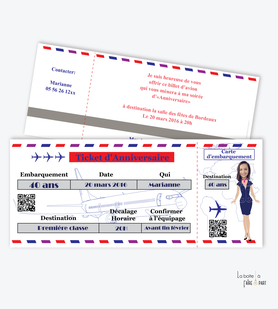 invitation anniversaire femme billet d'avion-hotesse de l'air