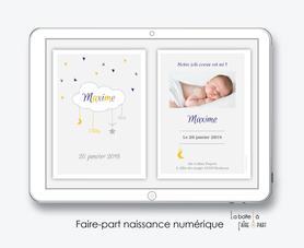 faire part naissance garçon numérique-faire part garçon électronique-fichier Pdf-nuage blanc-à imprimer soi même-envoyer par mail -envoyer par sms ou mms-réseaux sociaux