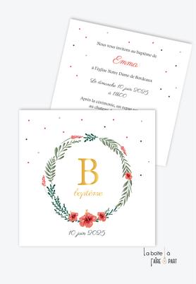 faire part baptême fille format carré-couronne de feuille-champêtre-monogramme de la lettre B-hibiscus-motif pois-fleurs