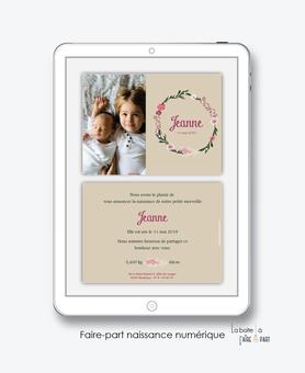 faire-part naissance fille numérique-faire part naissance digital-faire-part digital  -couronne de fleurs - kraft-pivoine-à imprimer-à envoyer par mail -à envoyer par mms-sms-réseaux sociaux-via smartphone