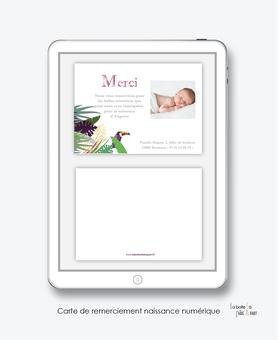 Carte de remerciements naissance fille numérique-carte de remerciements fille électronique digital-fichier Pdf-tropical toucan-à imprimer soi même-carte de remerciement à envoyer par mail, mms et réseau sociaux