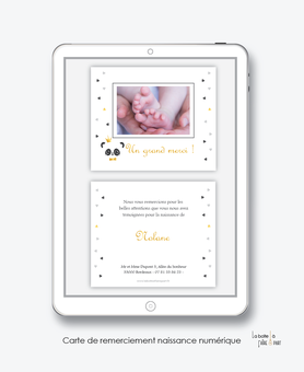 Carte de remerciements naissance garçon numérique-carte de remerciements garçon électronique-fichier Pdf-panda plume -à imprimer soi même-à envoyer par mail -à envoyer par sms